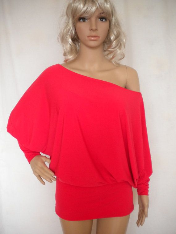 oversize off shoulder batwing sleeve jersey top made to order