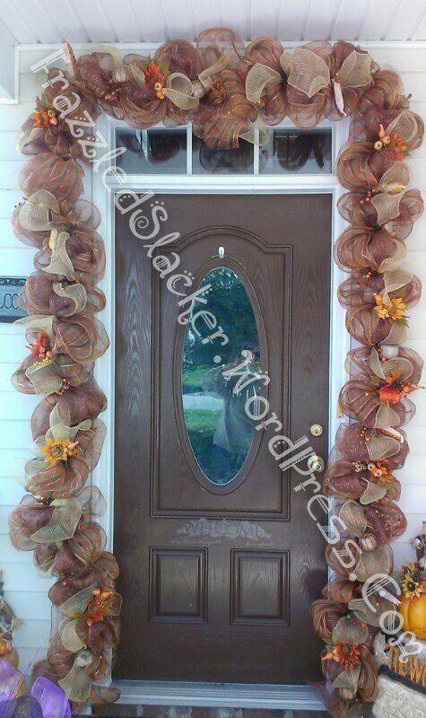 Simple fall deco mesh door garland FrazzledSlacker.wordpress.com