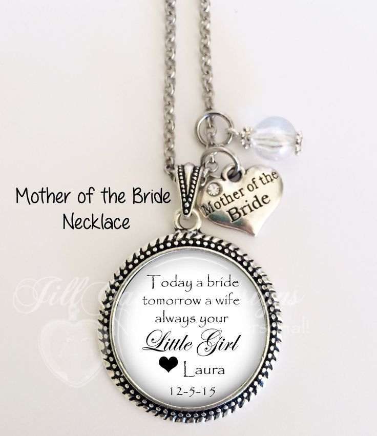 """Mother of the Bride Necklace, braided, """"Today a Bride, Tomorrow a Wife, Always Your Little Girl"""", Personalized with name, date of wedding by NowThatsPersonal on Etsy"""