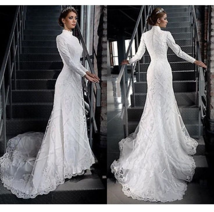 Simple, yet elegant. This style with a modern touch would make the perfect wedding dress. #Nikkah #Muslim #Bride #Wedding #White #Longsleeve #Lace #Turtleneck