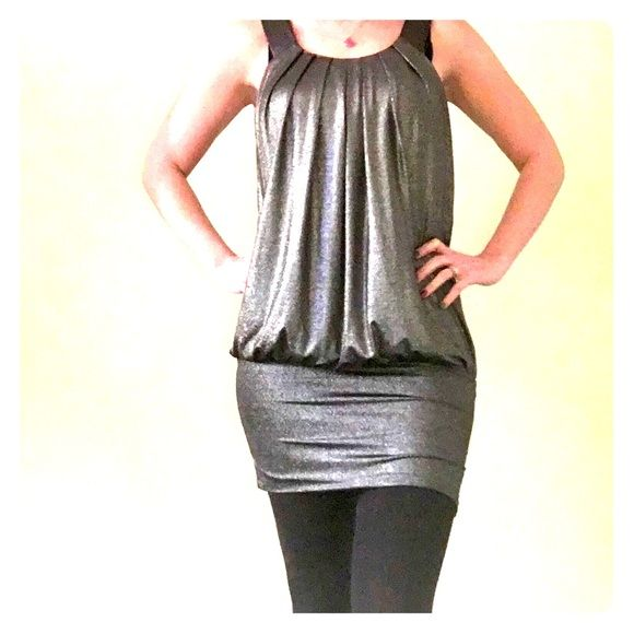 Sparkly grey dress Flowy top, fitted bottom, lots of sparkle! Forever 21 Dresses