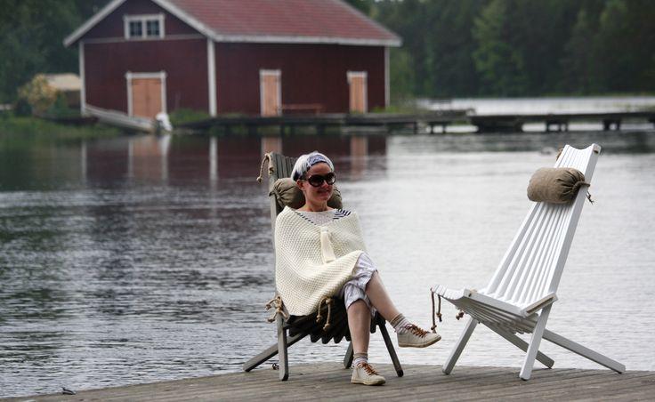 Wooden chairs for outdoors. Scandinavian design