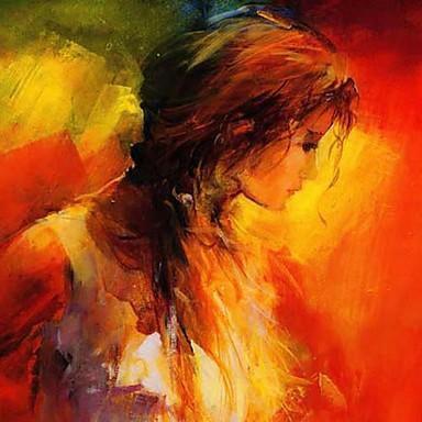 Meisje schuin kijkend, warme kleuren