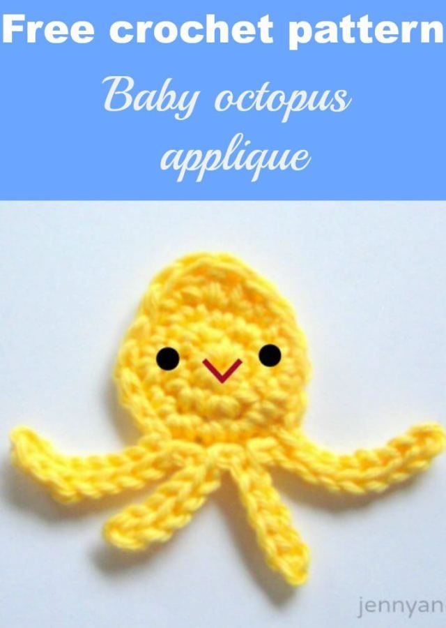 free crochet pattern by octopus squaid applique by jennyandteddy