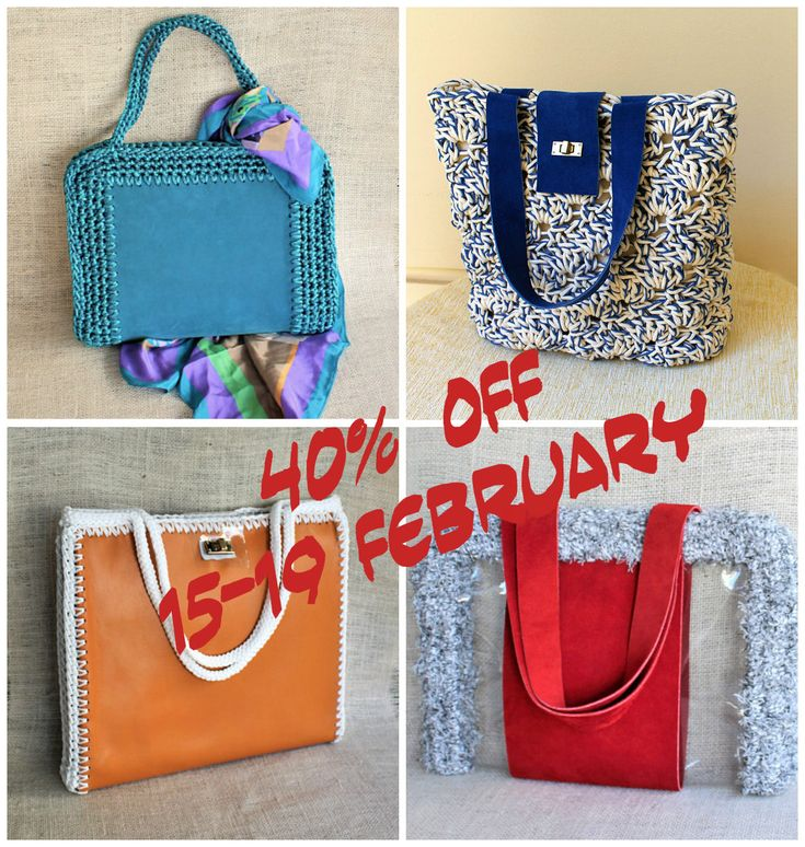 40% discount on these leather/leather detailed bags. February 15-19. Visit my etsy shop for more info. https://www.etsy.com/shop/MariliartbyM