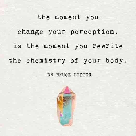 """The moment you change your perception, is the moment you rewrite the chemistry of your body."" — Dr. Bruce Lipton"