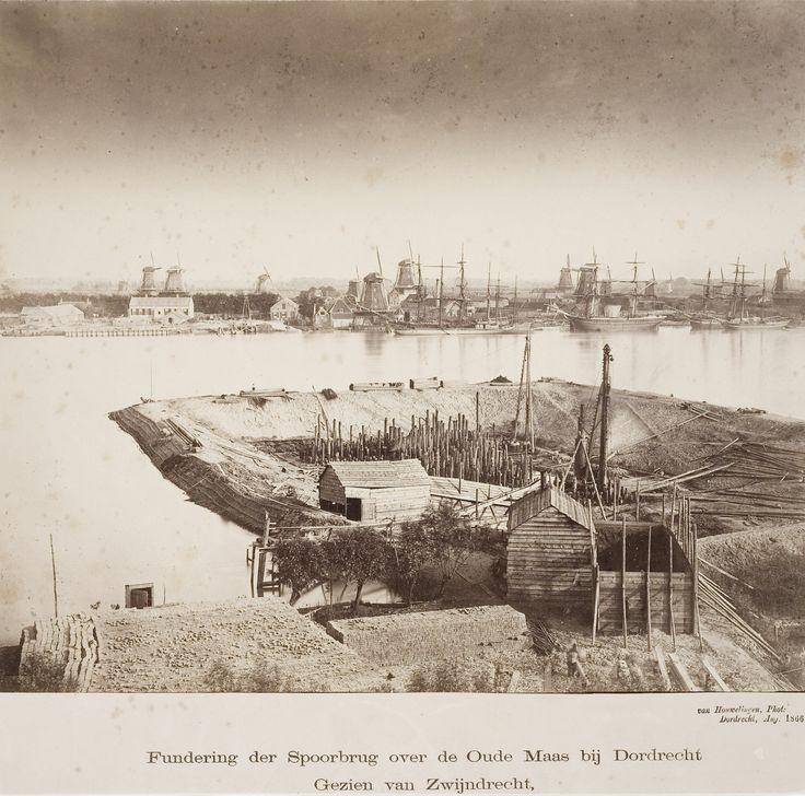 Aanleg van de spoorbrug bij Zwijndrecht