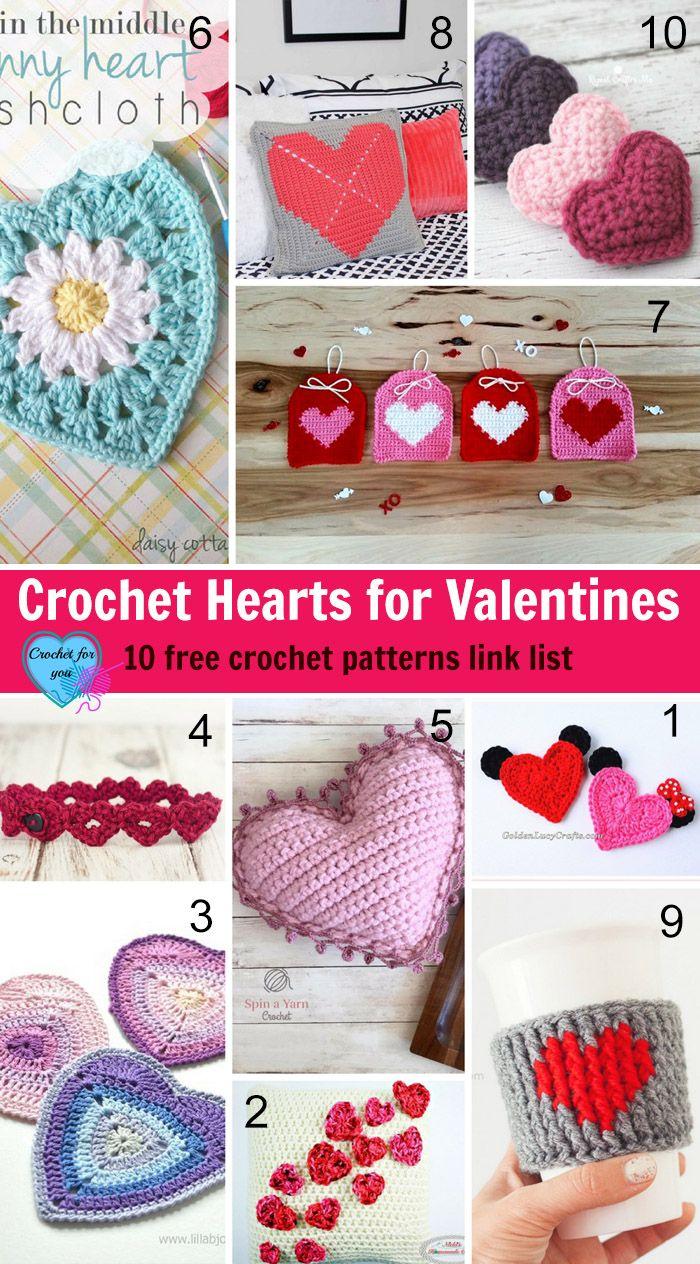 Crochet Hearts for Valentines -10 free crochet patterns link list.
