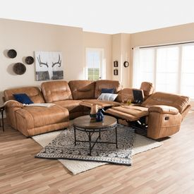 Baxton Studio Mistral Modern and Contemporary Light Brown Palomino Suede 6-Piece Sectional with Recliners Corner Lounge Suite & Best 25+ Lounge suites ideas on Pinterest | Living room suites ... islam-shia.org