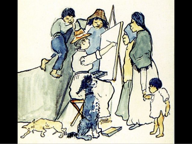 Emily Carr, sketching First Nations with her dogs.
