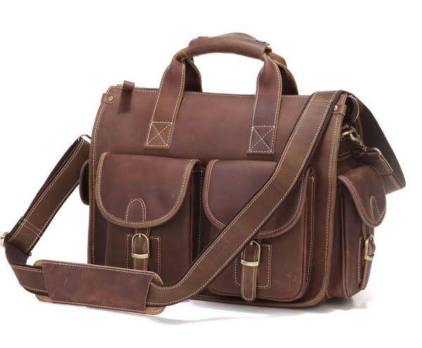Multi Pocket Genuine #Leather #Satchel Bag Briefcase #Selvaggio