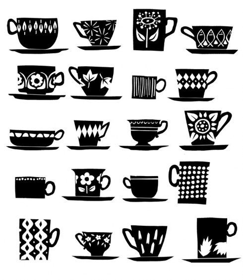 Black U0026 White Tea Cups And Coffee Mugs This Would Be Cute On A Tray With