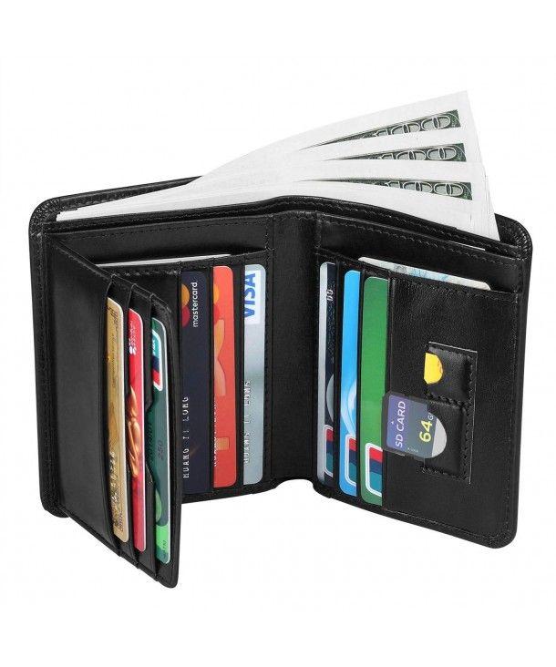 Handmade Mens Genuine Leather Card Money Holder Long Wallet Purse Black