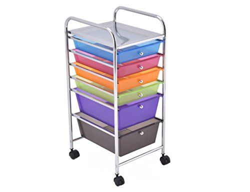 6 Drawer Rolling Storage Cart Tools Scrapbook Paper Office School Organizer  New US    To