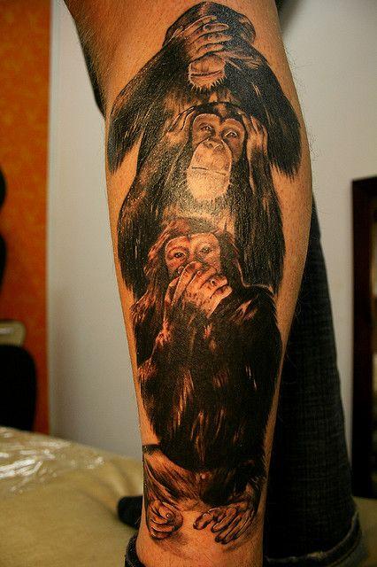 three wise monkeys ouch tattoo pinterest drei affen affen und polynesisch. Black Bedroom Furniture Sets. Home Design Ideas