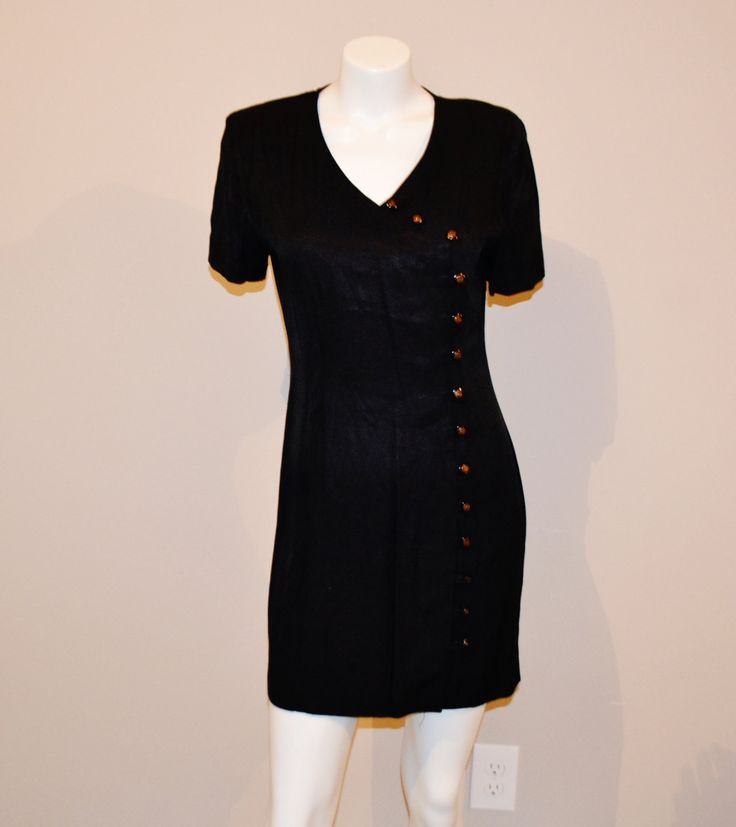 SALE.......Vintage Black with Gold Buttons Dress by CheekyVintageCloset on Etsy
