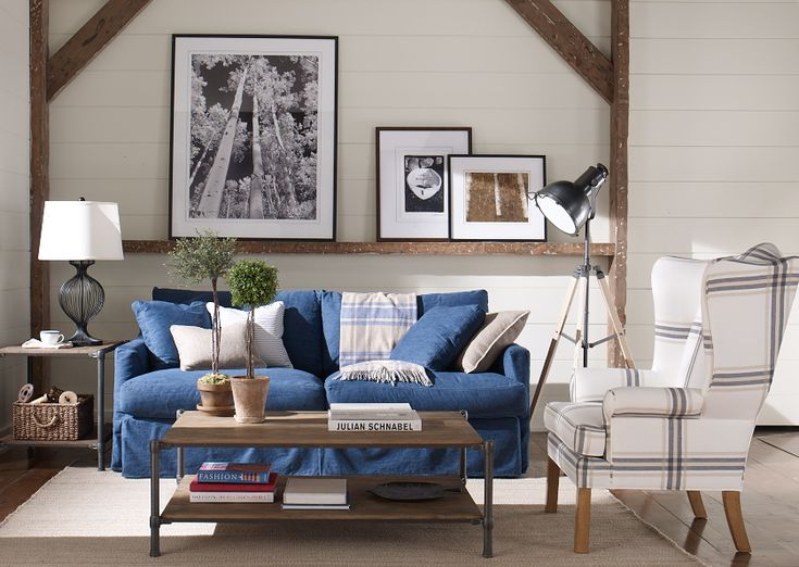 A denim slipcover can summer-ify almost anything. (Shown on our new Marley sofa.)