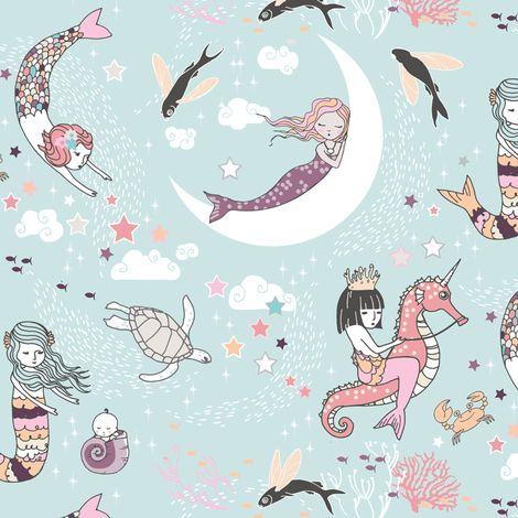 Mermaid Lullaby (sea foam) SMALL fabric by nouveau_bohemian on Spoonflower - custom fabric
