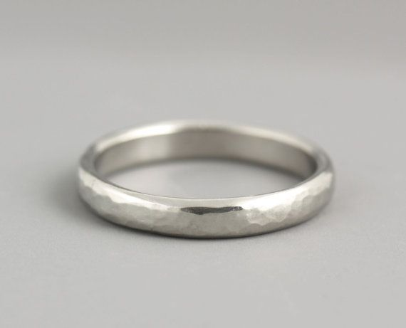 Woman's Palladium Wedding Ring - Thin Wedding Band - Hammered Wedding Band - Natural Organic Texture - Made to Order in Your Size
