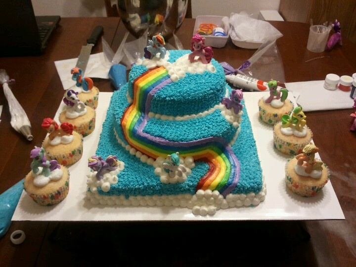 My Little Pony Birthday Cake All Piped With Buttercream Icing