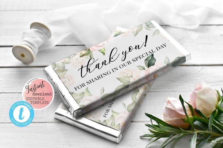 Wedding Candy Bar Wrapper Floral Wedding Templett WD1 Instant Download Pink Floral Wedding Chocolate Bar Wrapper Floral Wrapper