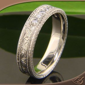 Men's Engraved Wedding Band with Diamonds at Green Lake Jewelry