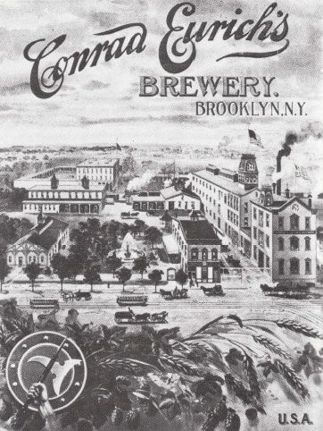 EURICH BREWERY, 1900. Conrad Eurich's Brewery on the south side of Wyckoff Avenue at Halsey Street as it appeared on a calendar put out by the company in 1900. This brewery passed through several changes of ownership and as many names: Leibinger & Oehm (1887-1895), Conrad Eurich (1899-1903) and, finally, the Elm Brewing Company, which went out of business in 1907. All the proprietors used the hand-and-axe symbol. The Brooklyn border is just back of the buildings. (The Queens Borough Public…