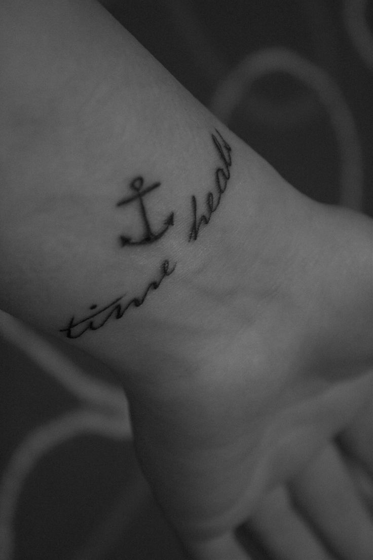 "One day old tattoo. The words ""time heals"" means a lot to me. In a depressiv episode it should always reminds me to look ahead. Because time heals! It helps me not to be afraid of the future. The anchor symbolizes my love and closeness to the sea - my happiest moments. (Made in Germany - ""Scared heart"" in Wertingen)"