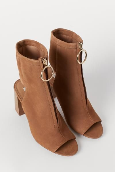 810562c87050 Open Suede Ankle Boots - Camel - Ladies