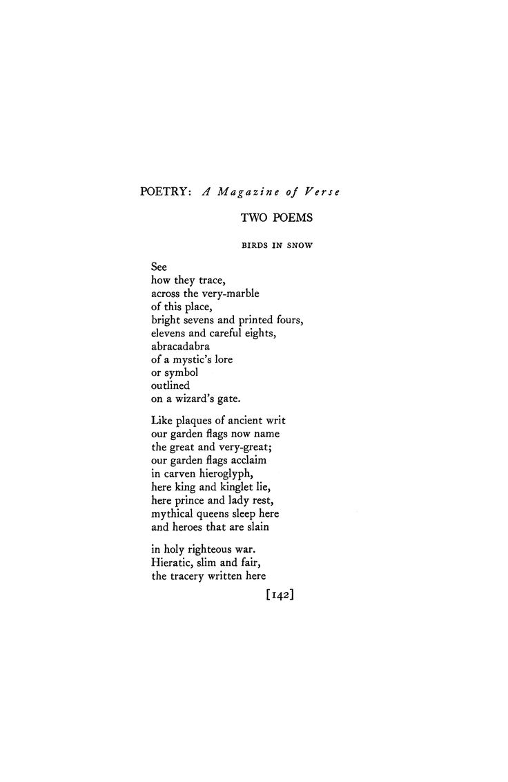 Birds in Snow by H. D. | Poetry Magazine