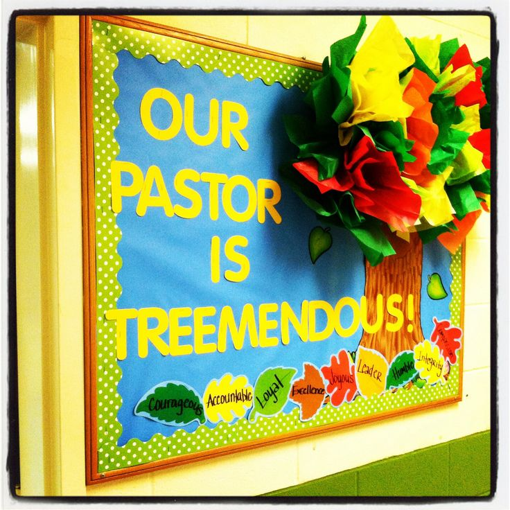 Pastor Appreciation Bulletin Board: tissue paper tree