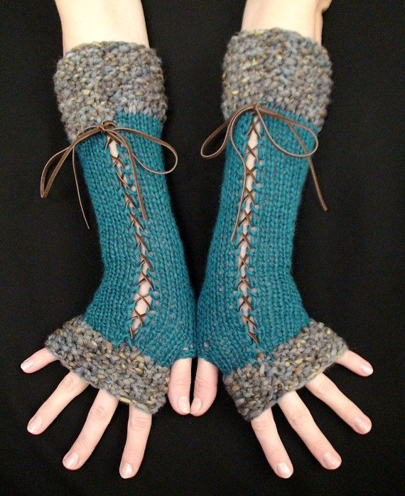Fingerless Gloves Long Corset Arm Warmers Handknit in Dark Turquoise/ Teal Victorian Style