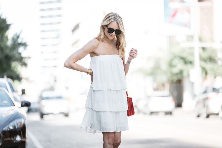 Fashion Jackson, Dallas Blogger, Fashion Blogger, Street Style, Little White Dress, Nordstrom White Pleated Strapless Dress, YSL Nano Sac De Jour Red Handbag, Aquazzura Nude Sexy Thang Heels, Black Celine Sunglasses