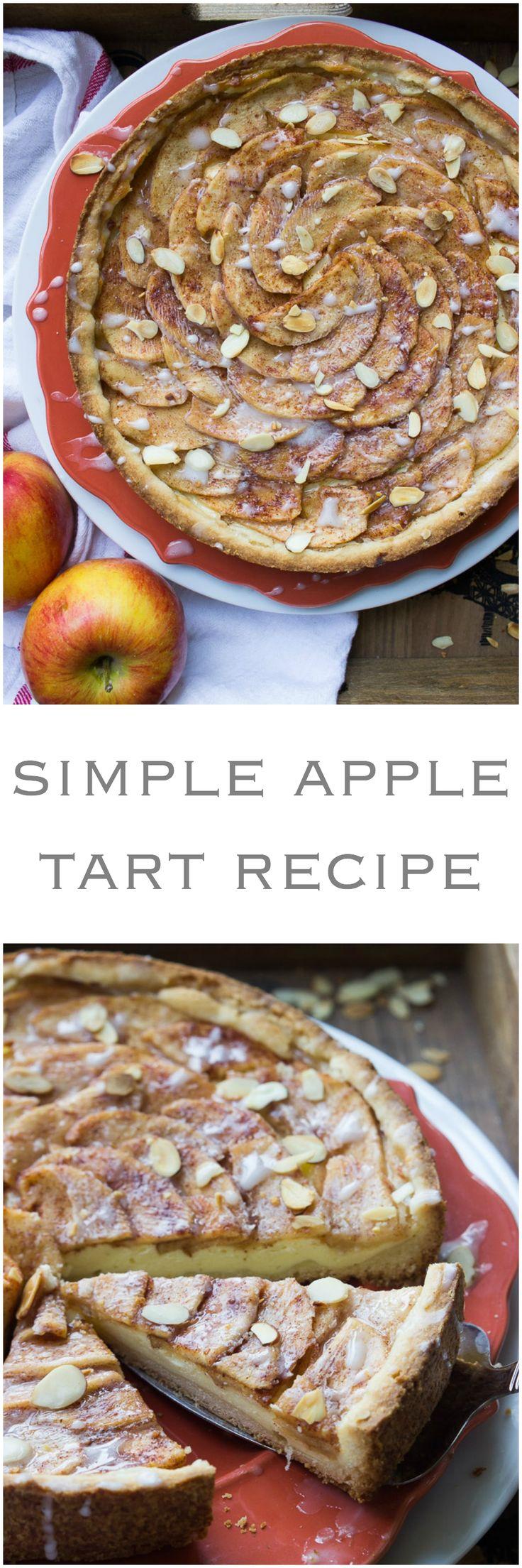 Simple Apple Tart Recipe - rustic apple tart with buttery crust, almond cream cheese filling and sweet glaze | littlebroken.com @littlebroken