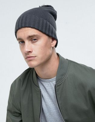 a1a437f4686 ASOS Bobble Beanie In Grey