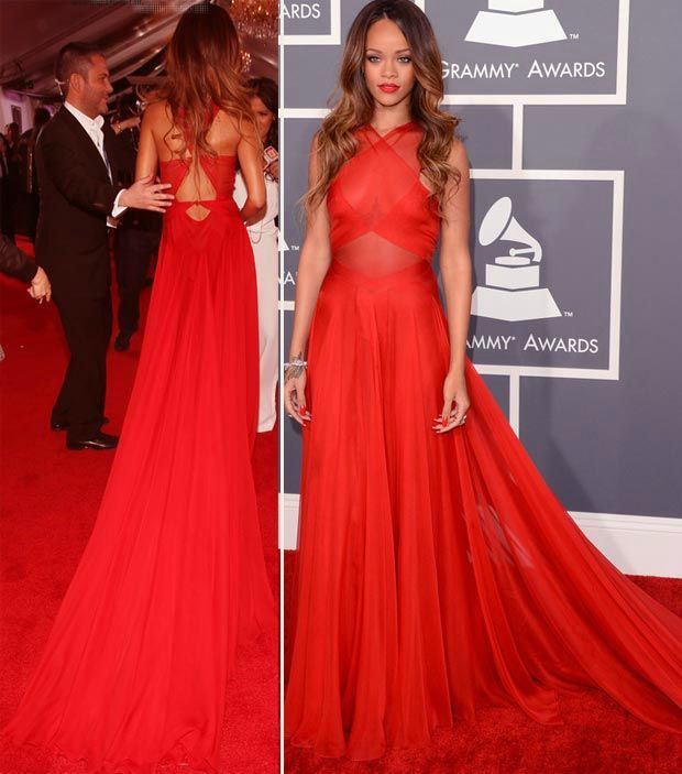 SZ440 Rihanna Hot Sale Red Chiffon A-Line Celebrity Dresses Fashionable Halter Sleeveless Pleat Hollow Back Long Evening Dress