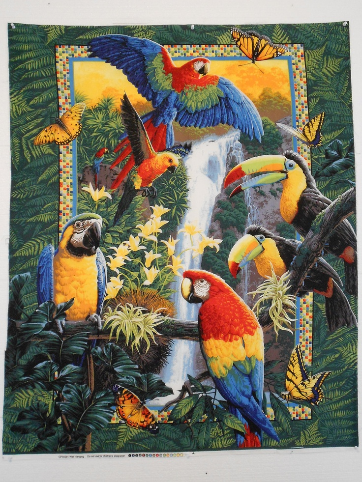 Fabric Cotton Panel Tropical Birds Wings Of Paradise Quilt