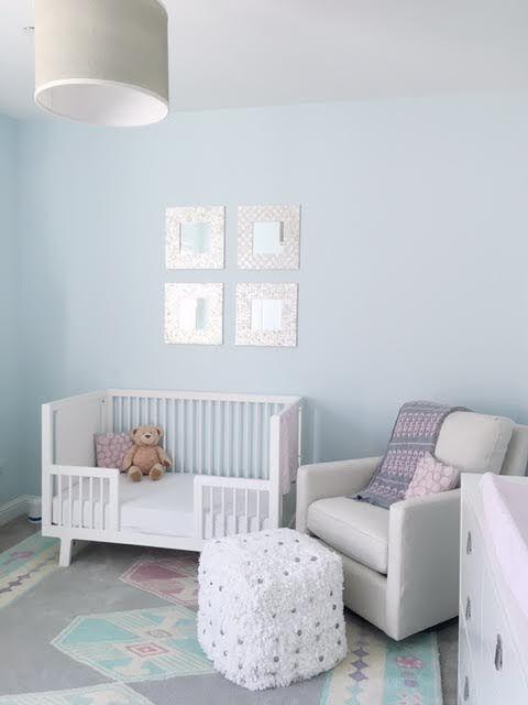Drum Light :: Southwestern Rug :: White Toddler Bed :: Swivel Glider :: Shag Pouf Ottoman