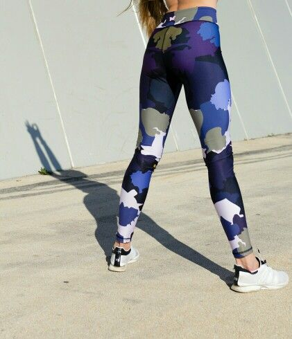 Blue and purple camo print gym leggings by Www.mymantraactive.com UK active wear brand that sell gym and yoga leggings.