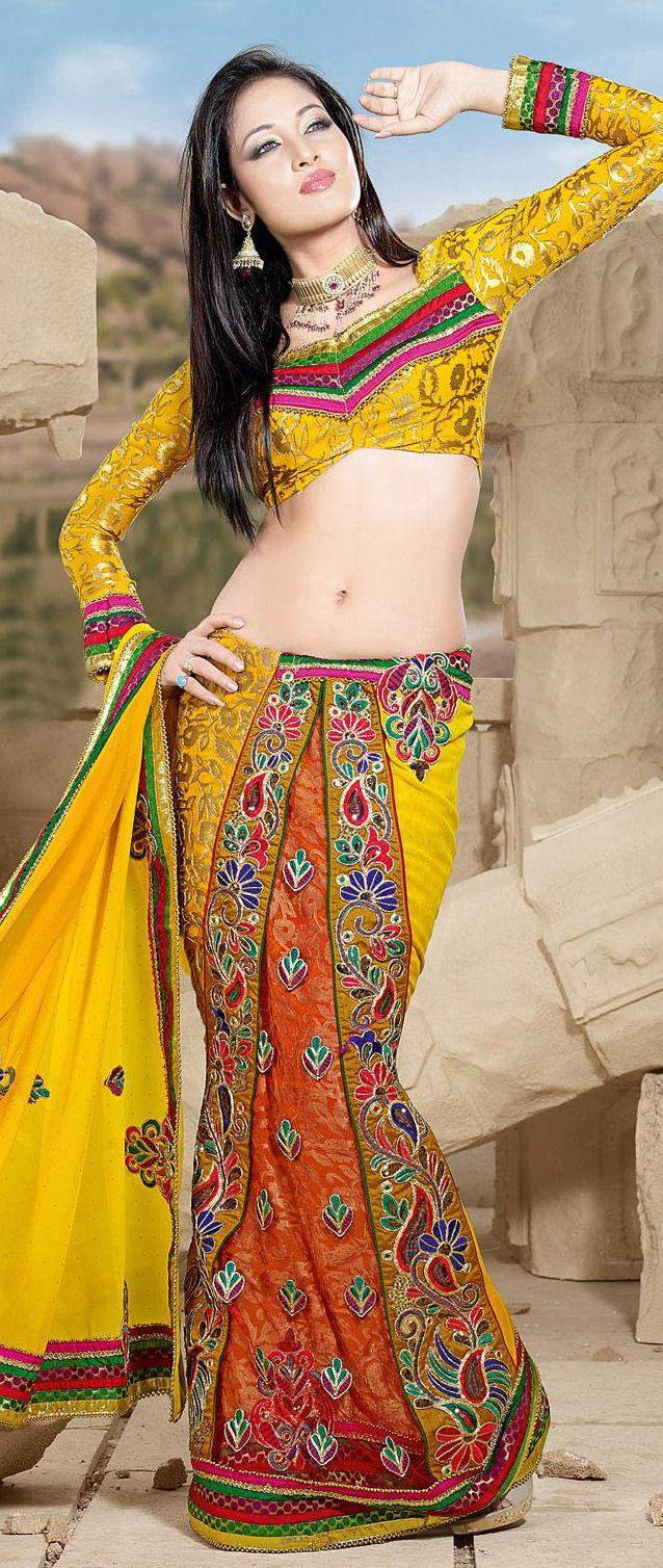 #Yellow #Faux #Georgette #Lehenga #Style Saree Itemcode: SGA2063 Price: `5650.00 #Shop Now @ http://www.utsavfashion.in/saree/yellow-faux-georgette-lehenga-style-saree/sga2063-itemcode