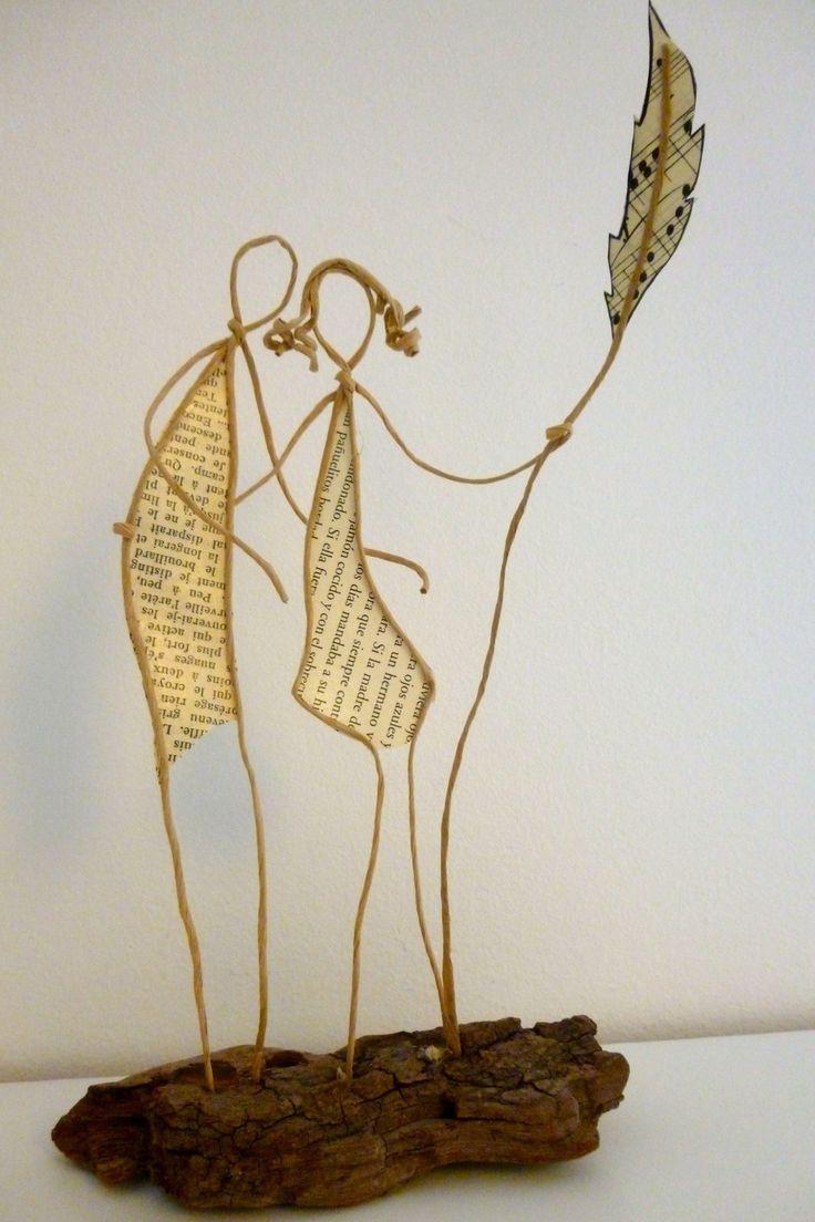 Tendre amour - figurines en ficelle et papier