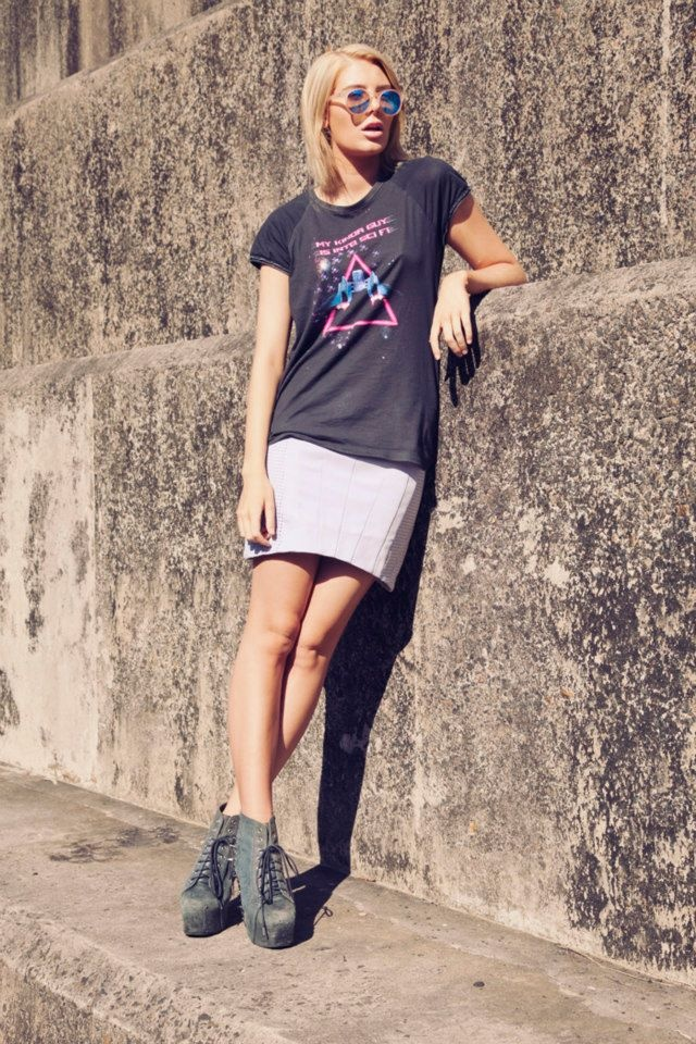 Rochelle Fox wearing STYLESTALKER 'My Kinda Guy Is Into Sci Fi' Tee and 'Holographic' Skirt, both available at THE ICONIC.