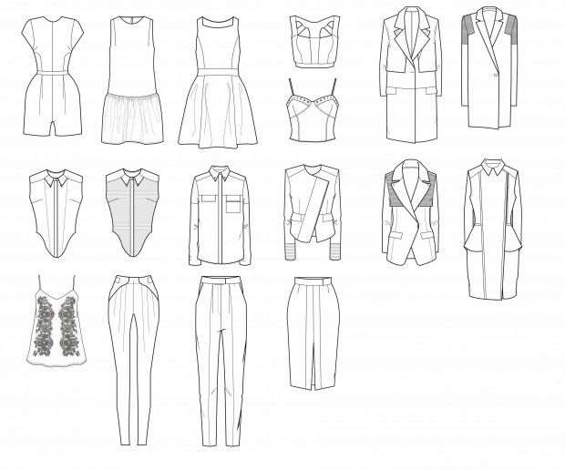 Designers draw and design clothing.  Inspiration form other pieces of fashion.