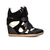 Mecrea Isabelle Siyah Altın Topuklu Spor Ayakkabı