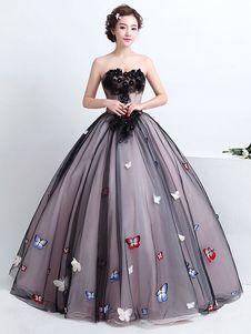 caa28791e Vestido para quinceañeras negro con escote en corazón sin mangas con cuentas
