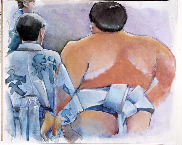 'Musashimaru mizu' is one of the sumo-themed drawings by artist Lynn Matsuoka
