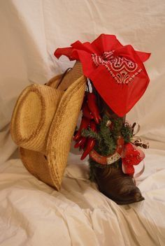 Western Christmas cowboy boot and hat with chili peppers and bow