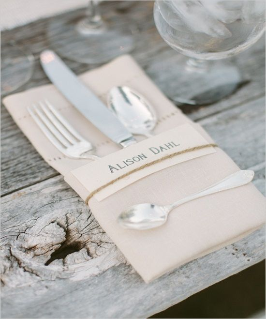 Silverware Wred In Nice Paper Napkin Tied With Twine Pretty Printed Peach Cardstock Or Brown Tags Names