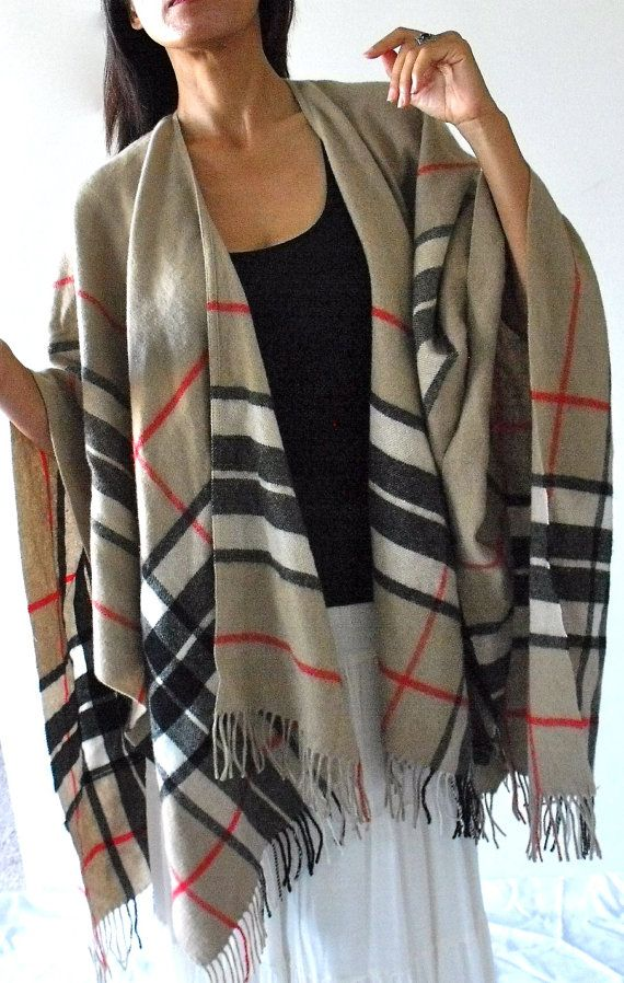 Vintage Wool Plaid Poncho Shawl Wrap by CowboyandNinja on Etsy, $42.00