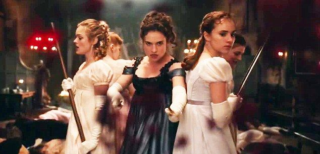 Good girl gone bad:Lily James has proved there is a lot more to her acting repertoire than fairy princesses, as she puts on a violent display in the first trailer for spoof horror Pride And Prejudice And Zombies